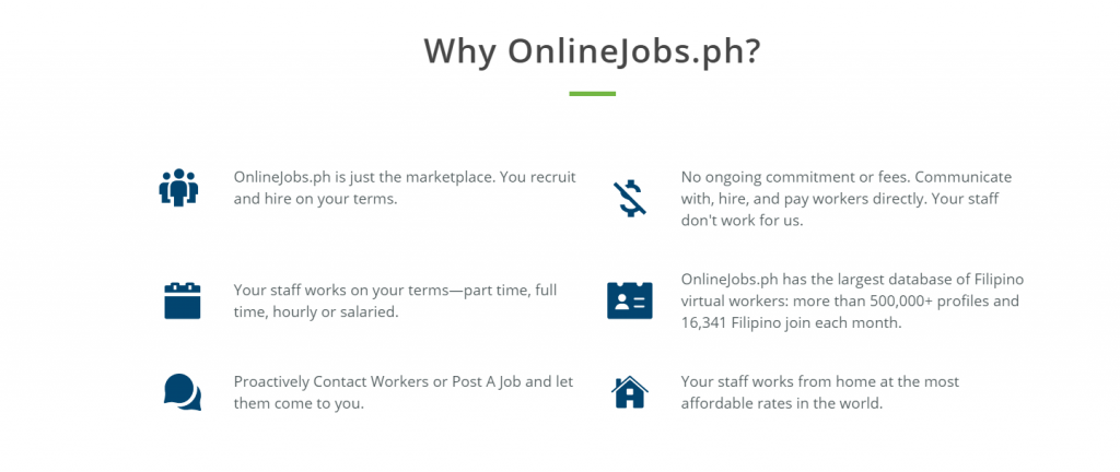 This image describes some of the benefits of using onlinejobs.ph to hire a Virtual Assistant.